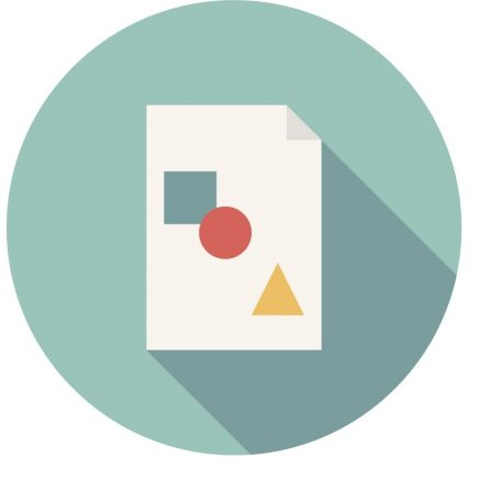 "Teal circle with document and color shapes icon representing ""Technology""."