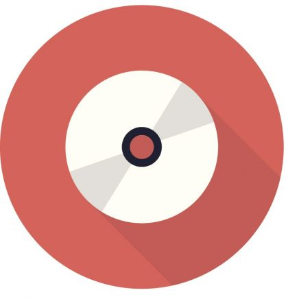 "Red circle with cd rom disk icon representing ""Education""."